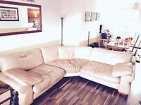 Huge cream leather corner settee £50