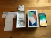 APPLE IPHONE X 10 256GB LIKE NEW UNLOCKED IN SILVER / WHITE WITH BOX, CHARGER & CASE, 7 8 Plus