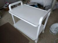 White plastic serving trolley