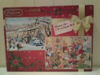 """""""HOME FOR CHRISTMAS"""" .. TWO X 1000 PIECES JIGSAW PUZZLES"""