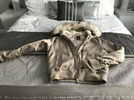 Primary satin hooded bomber jacket. Size 10. Great condition
