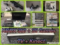 XBox 360 + 35 Games + Kinect + Head Set + 24 inch Hitachi TV
