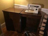 Very Cool Retro Working Frister & Rossmann Electric Sewing Machine in Folding Cabinet