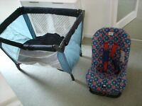 Mamas and Papas travel cot. Britax club class extra cilds car seat up to 13kg.