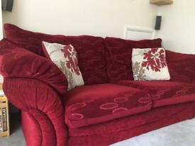 3 seater sofa and arm chair Red good condition