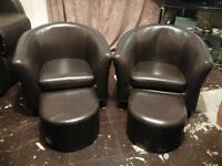 kids leather chairs and foot stools
