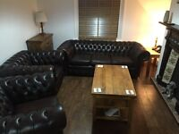 Genuine 30 year old Chesterfield Sofa and 2 Club Chairs