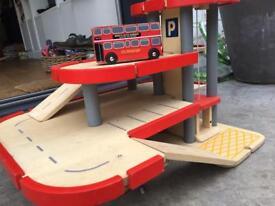 Wooden multi-level parking garage toy