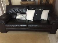 Dark brown leather sofa (2 available)