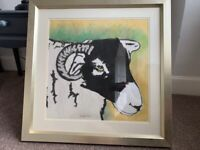 Large pastel painting of a Swaledale sheep ram signed, mounted and framed