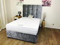 Brand new complete velvet bed set + Headboard