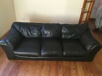 Bargain 3 and 2 seater Black Leather Suite