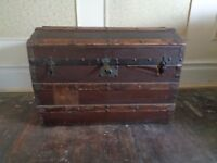Antique leather bound dome topped trunk, pirates treasure chest