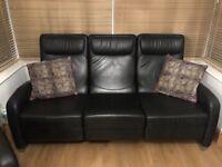 Leather reclining modern 3 seater sofa black