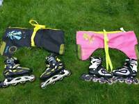 Roller skates two pairs roces size 5 and Air wive size 2 with bags!15 each or both 25