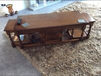 Unusual Solid Medium Oak Old Charm Long John Coffee Table
