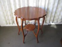 VINTAGE MAHOGANY SHAPED TWO TIER WINDOW TABLE SIDE TABLE