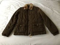 Topshop Puffer Jacket with Fur Collar - Size 6
