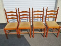 Four Pine Cloth Seated Chairs