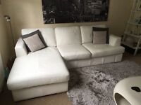 DFS Freya White Leather Left hand facing chaise end sofa