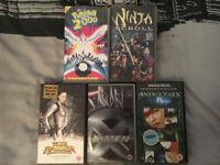 Five VHS films for sale