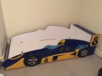 Racing Car Single Bed (blue/yellow) - excellent condition