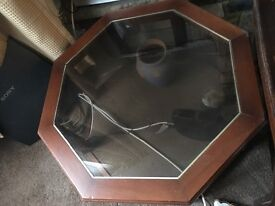 Hexagonal Wooden and Glass Coffee Table - £30 only cash on collection