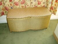 Ottoman storage chest/seat in gold with upholstered top. Doncaster