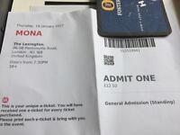 2xMONA tickets 19/01/17 LEXINGTON BAR-kings cross (150 people max capacity )
