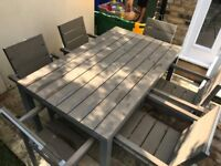 Lovely 6 seater garden table and chairs 150cm by 90cm - Good condition