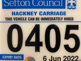 Sefton public hire Hackney taxi plate for sale