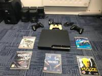 PlayStation 3 with games and 3 consoles and VM audio 5.1 sound system