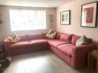 **SOFA-COM** Stylish Corner Sofa - Red Herringbone, great condition