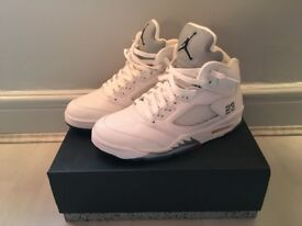 Worn UK7 Jordan 5 Metallic White £135 (Nike Supreme Air Max Bape Yeezy Kanye Adidas Kobe Huarache)
