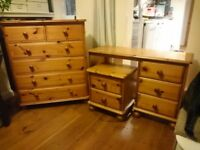 4 piece bedroom pine furniture set