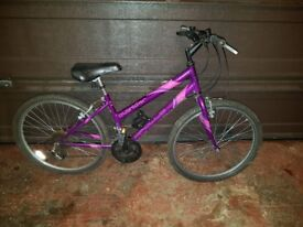 18 speed Girls Mountain Bike in fairly good condition.