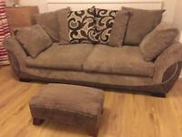 3 Seater Brown Sofa with Foot Stool.