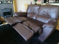 Free Brown Leather Recliner Sofa - a little broken but free!