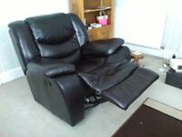 3+1+1 black leather sofa set for sale, both 1 seaters are recliners, bought for £3000