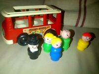 Vintage Fisher Price play family little people toy school mini bus and passengers