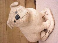 British bulldog stone garden statue ornament.