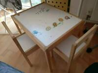 Children's table with two chairs