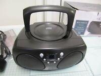 Radio / CD player, black virtually unused. From Tesco