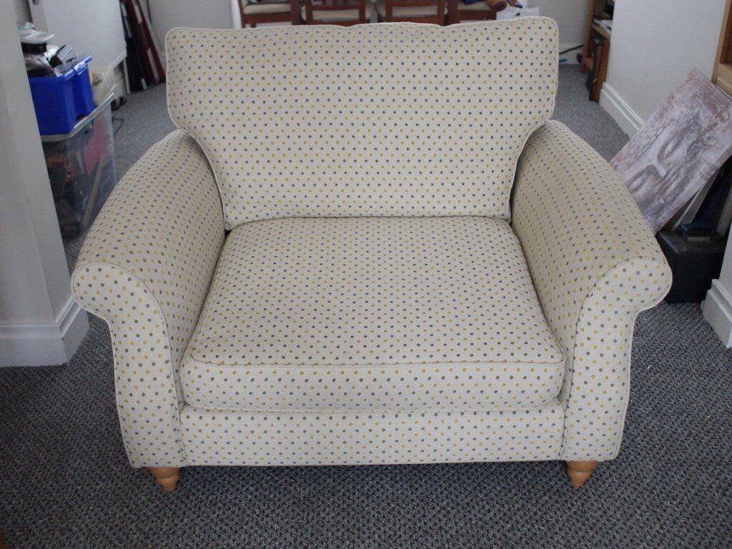 Next Ashford ochre spot snuggle chair & cushion - 1 year old & as new !!