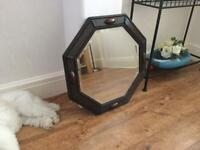 Antique Dark Oak Bevelled Glass Mirror