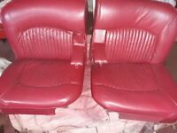 JAGUAR DAIMLER 1960s S-TYPE/420 RED SEAT SET READY TO FIT