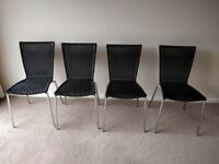4 John Lewis chrome and black wicker dining chairs