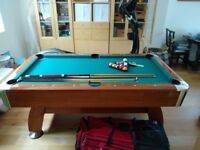 Second hand pool table, includes 4 cues, balls, brush, triangle and chalk. Length 1.83, Width 0.96