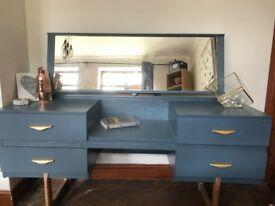 Retro Dressing Table Blue and Gold