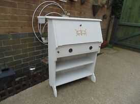 SOLID WOOD WRITING BUREAU PAINTED WITH LAURA ASHLEY COBBLESTONE COLOUR ABSOLUTELY STUNNING